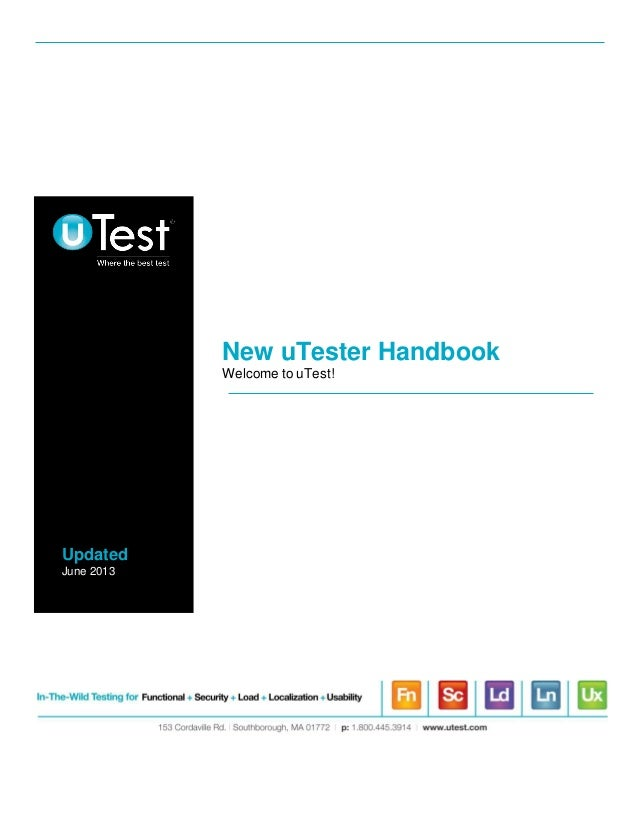 New uTester HandbookWelcome to uTest!UpdatedJune 2013