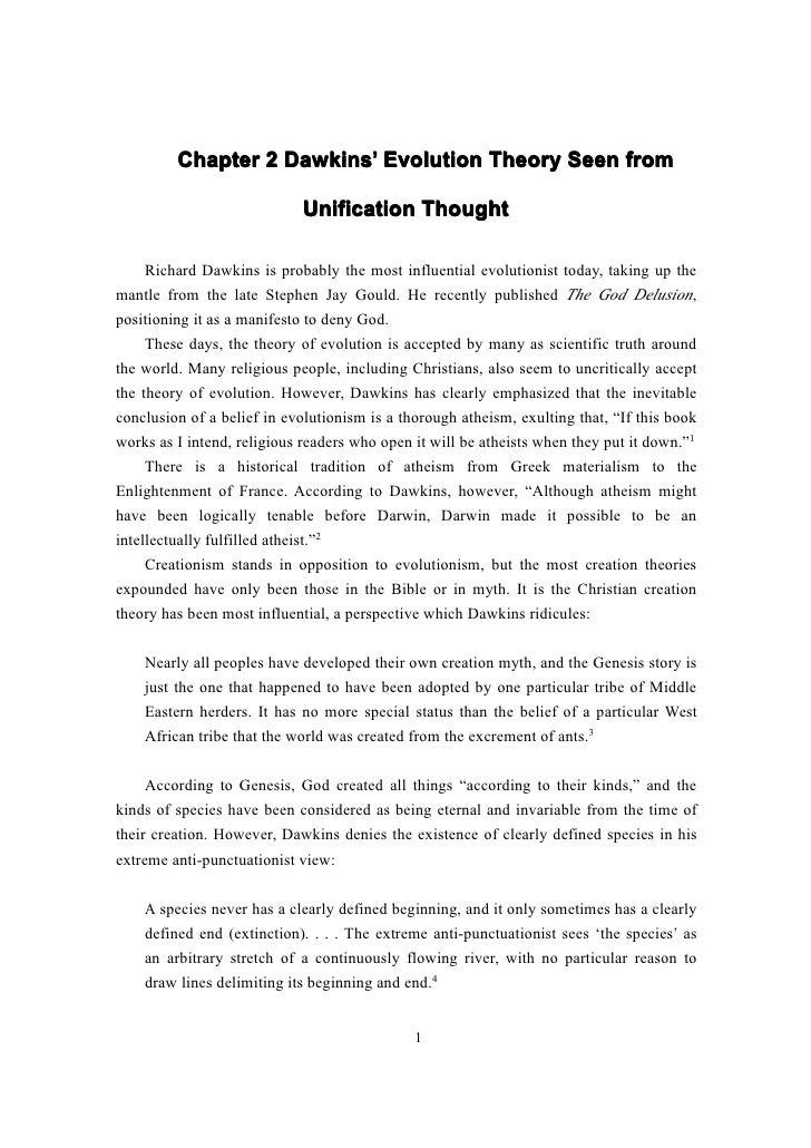 Chapter 2 Dawkins' Evolution Theory Seen from                   Dawkins'                            Unification Thought   ...