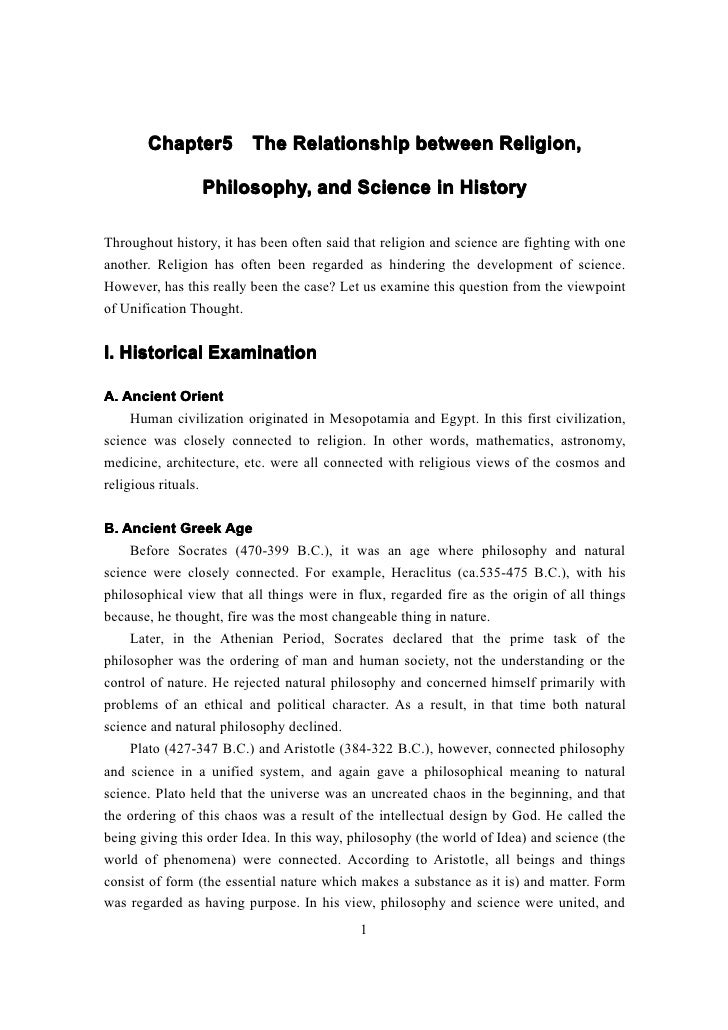 Chapter5 The Relationship between Religion,       Chapter5                Philosophy, and Science in HistoryThroughout his...
