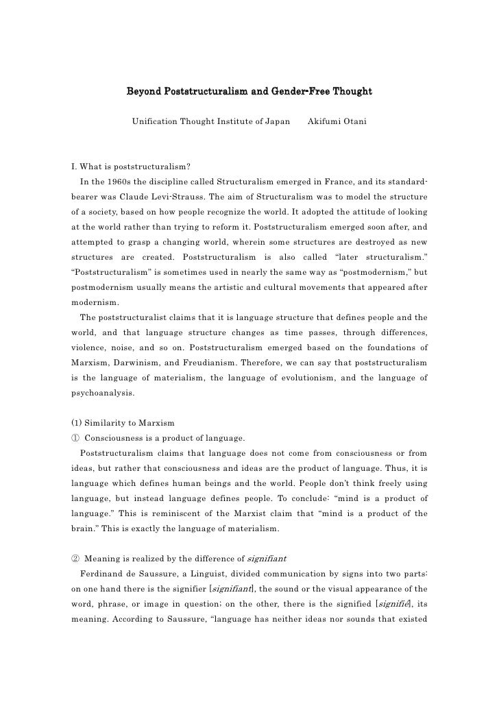 Beyond Poststructuralism and Gender-Free Thought               Unification Thought Institute of Japan      Akifumi OtaniI....