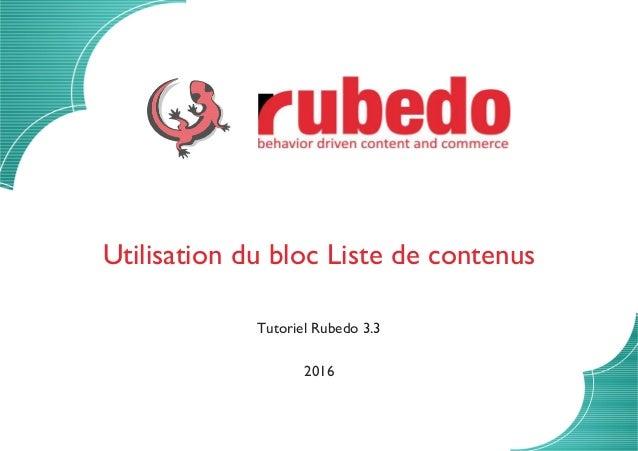 Utilisation du bloc Liste de contenus Tutoriel Rubedo 3.3 2016
