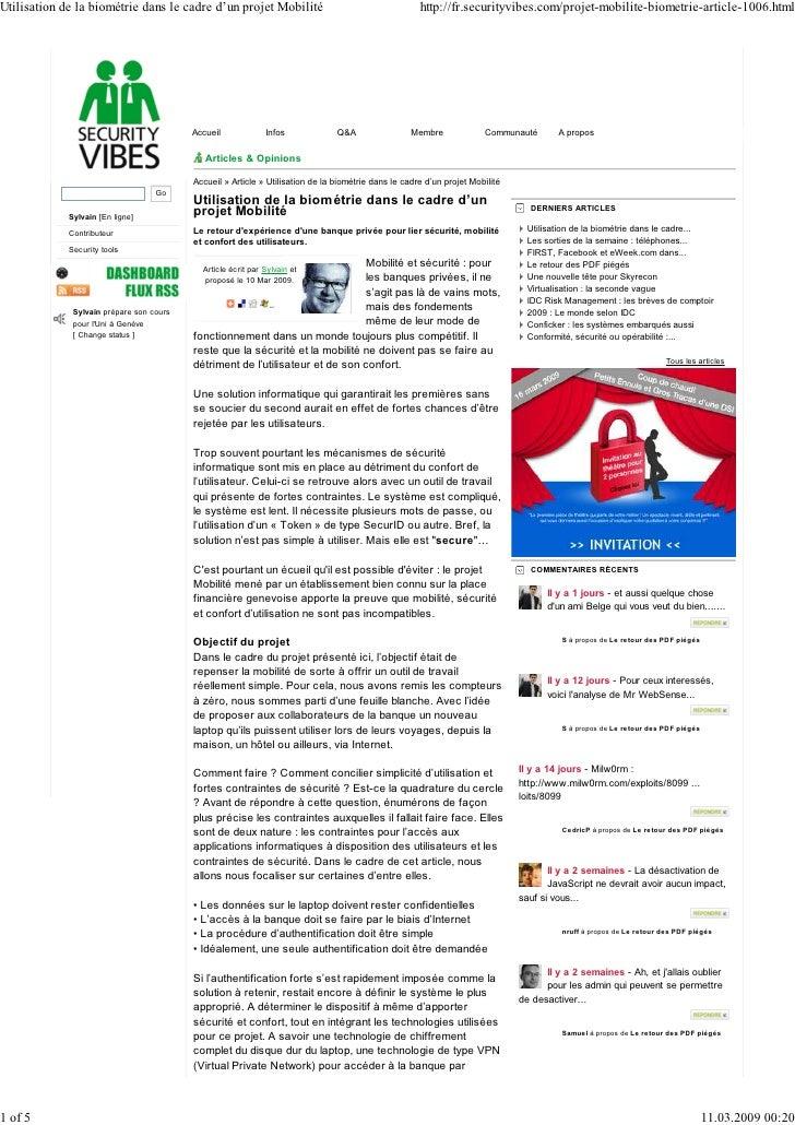Utilisation de la biométrie dans le cadre d'un projet Mobilité                                        http://fr.securityvi...