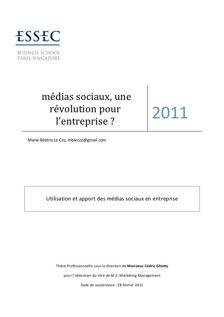 Utilisation et apport des médias sociaux en entreprise - Marie-Béatrix Le Coz