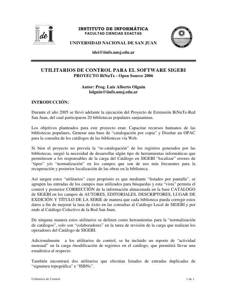INSTITUTO DE INFORMÁTICA                               FACULTAD CIENCIAS EXACTAS                           UNIVERSIDAD NAC...