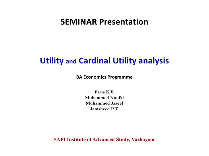 Utility and cardinal utility analysis