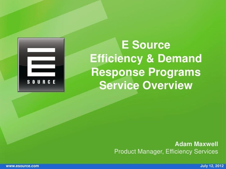 Efficiency & Demand Response Programs service from E Source