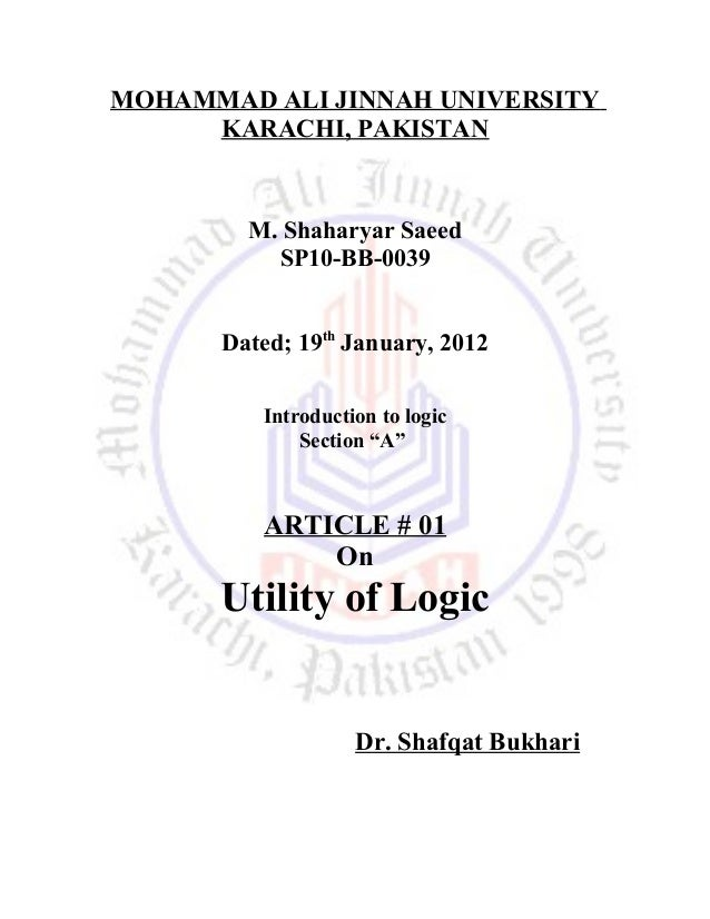 MOHAMMAD ALI JINNAH UNIVERSITY KARACHI, PAKISTAN M. Shaharyar Saeed SP10-BB-0039 Dated; 19th January, 2012 Introduction to...