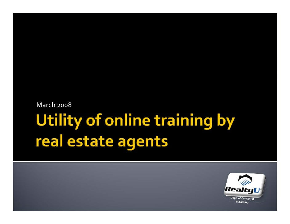 Use Of Online Training By Re Agents Mar2008
