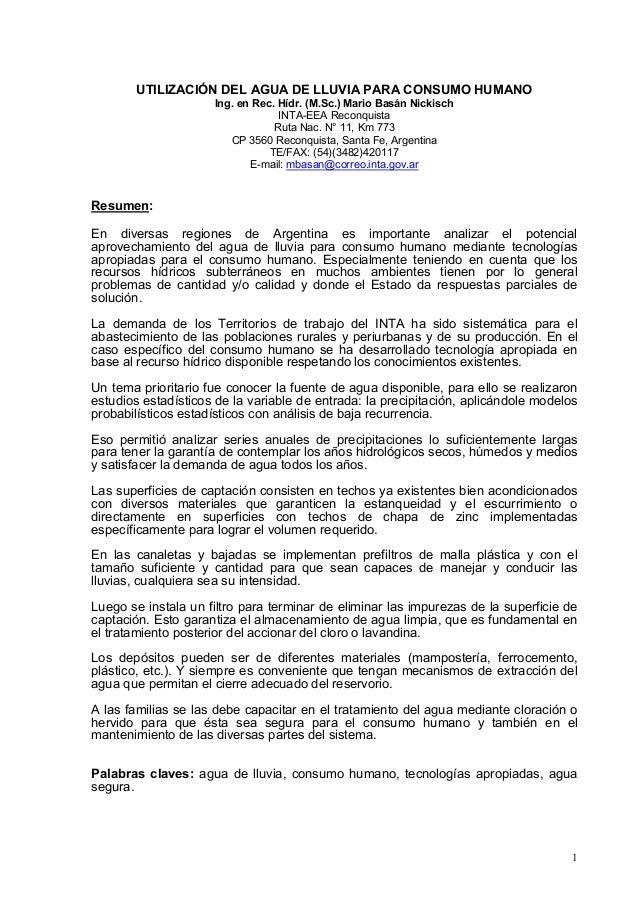 UTILIZACIÓN DEL AGUA DE LLUVIA PARA CONSUMO HUMANO                     Ing. en Rec. Hídr. (M.Sc.) Mario Basán Nickisch    ...