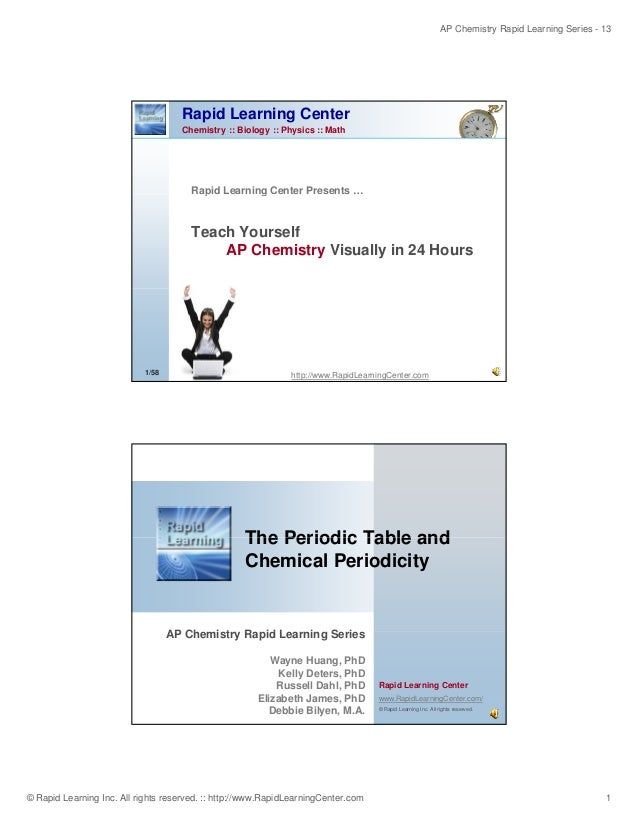 AP Chemistry Rapid Learning Series - 13  Rapid Learning Center Chemistry :: Biology :: Physics :: Math  Rapid Learning Cen...