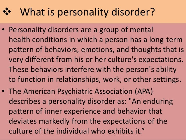 essay about personality disorders Psychology essays: personality disorders personality disorders this study guide personality disorders and other 63,000+ term papers, college essay examples and free essays are available now on reviewessayscom.