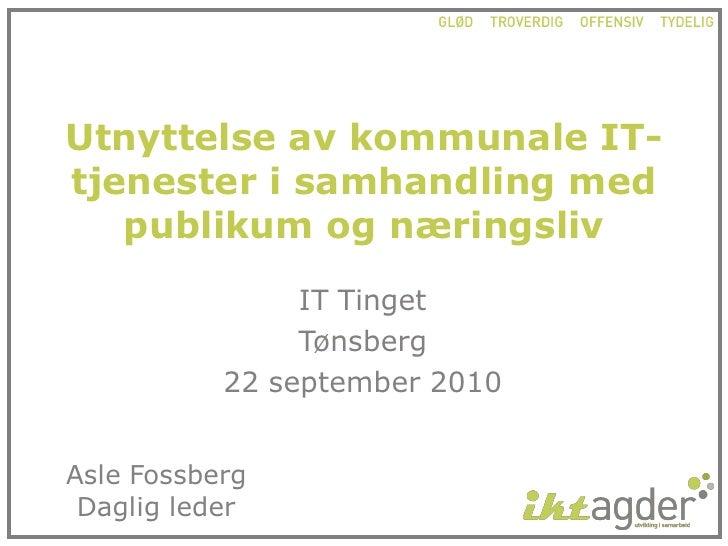 Utnyttelse av kommunale it tjenester i samhandling med publikum og næringsliv, asle fossberg