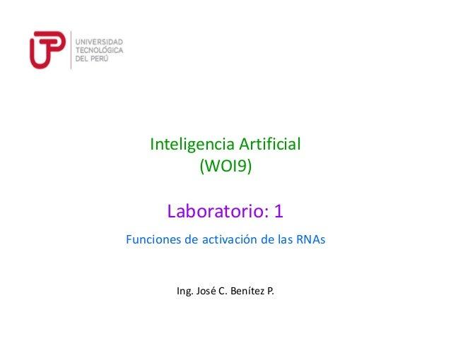 Ing. José C. Benítez P. Inteligencia Artificial (WOI9) Funciones de activación de las RNAs Laboratorio: 1