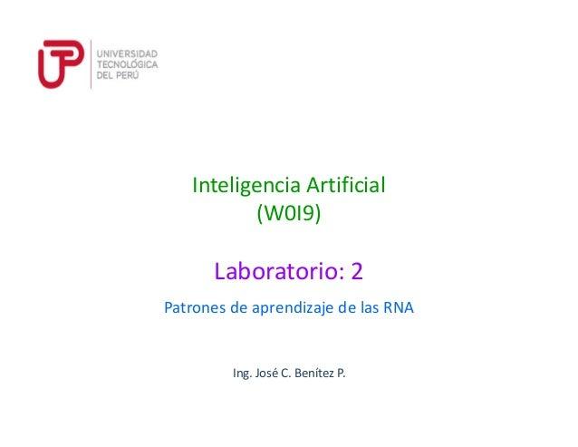 Ing. José C. Benítez P. Inteligencia Artificial (W0I9) Patrones de aprendizaje de las RNA Laboratorio: 2