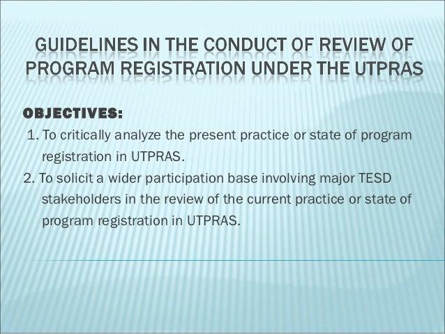 Utpras review guidelines presentation