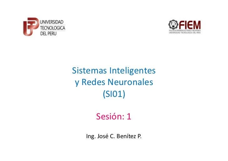 Sistemas Inteligentes y Redes Neuronales       (SI01)       Sesión: 1   Ing. José C. Benítez P.
