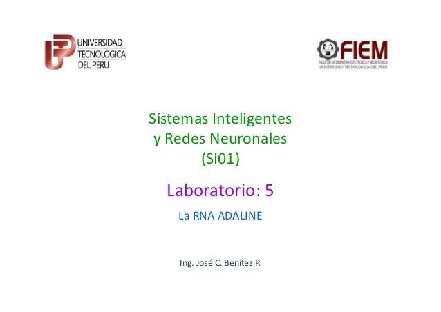 Sistemas Inteligentes y Redes Neuronales       (SI01)  Laboratorio: 5    La RNA ADALINE    Ing. José C. Benítez P.