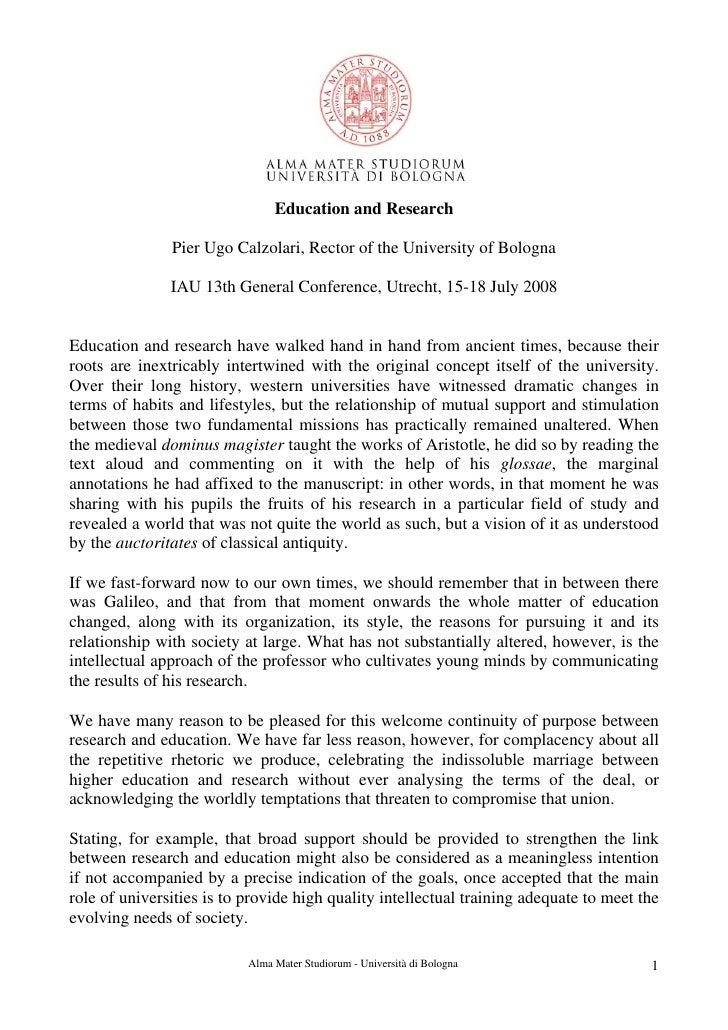 Education and Research               Pier Ugo Calzolari, Rector of the University of Bologna               IAU 13th Genera...