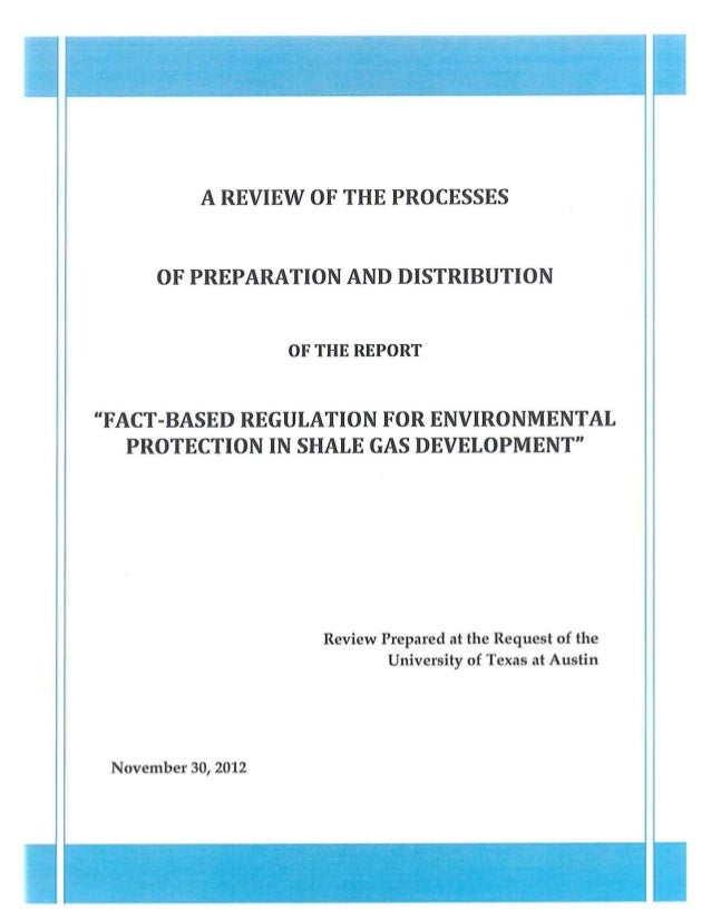 "A REVIEW OF THE PROCESSES      OF PREPARATION AND DISTRIBUTION                    OF THE REPORT""FACT-BASED REGULATION FOR ..."