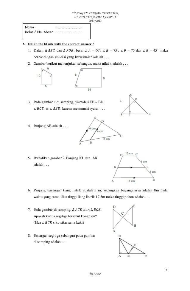 Soal Matematika Uts Smp Kelas Ix