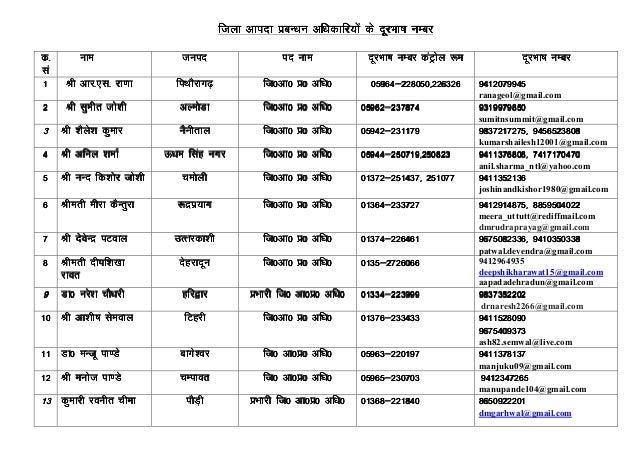 Uttarakhand disaster control room telephone nos