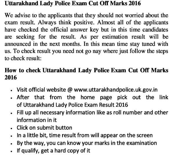 Uttarakhand lady police govt jobs exam result 2016 download online