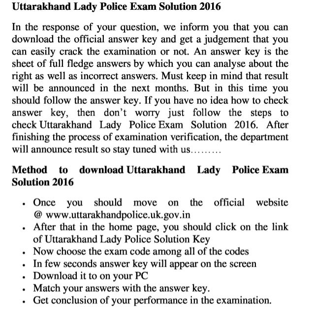 Uttarakhand lady police jobs 2016 exam answer key and result download online