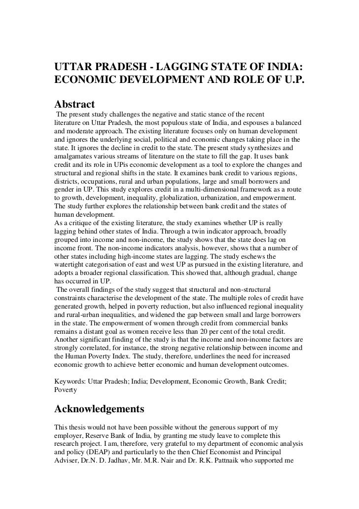 <br />UTTAR PRADESH - LAGGING STATE OF INDIA: <br />ECONOMIC DEVELOPMENT AND ROLE OF U.P.<br />Abstract <br /> The presen...