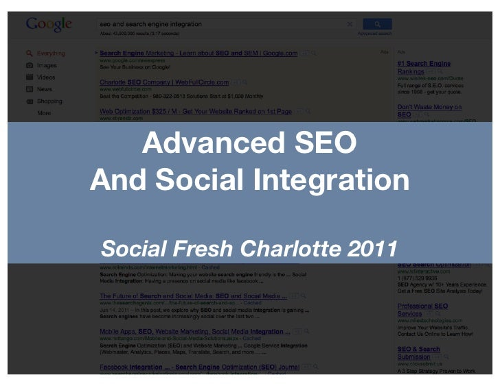 Advanced SEOAnd Social IntegrationSocial Fresh Charlotte 2011