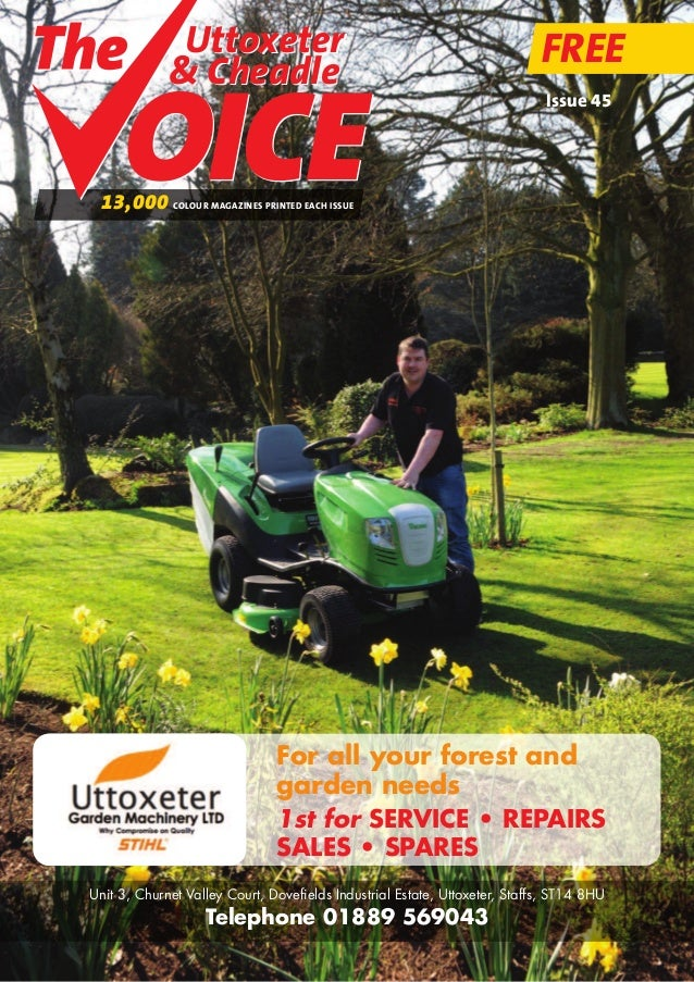 For all your forest and garden needs 1st for SERVICE • REPAIRS SALES • SPARES Unit 3, Churnet Valley Court, Dovefields Ind...