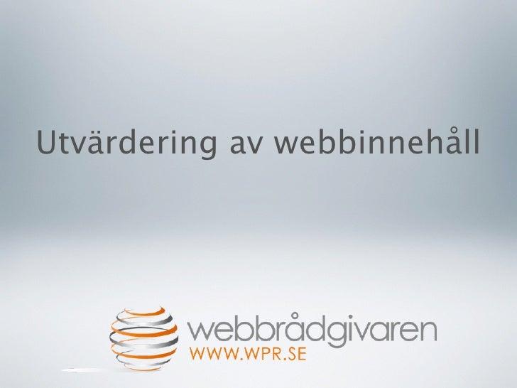 Suniweb: Utvärdera webbinnehåll