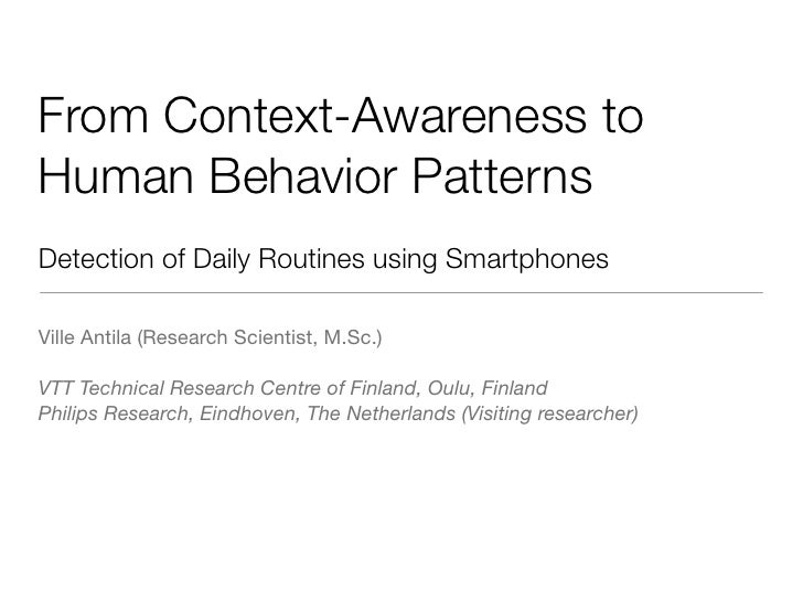 From Context-awareness to Human Behavior Patterns