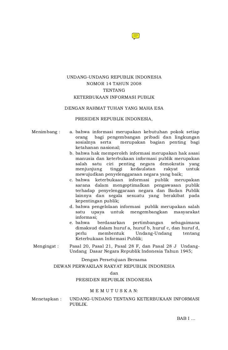 UU 14 - 2008 Keterbukaan Informasi Publik