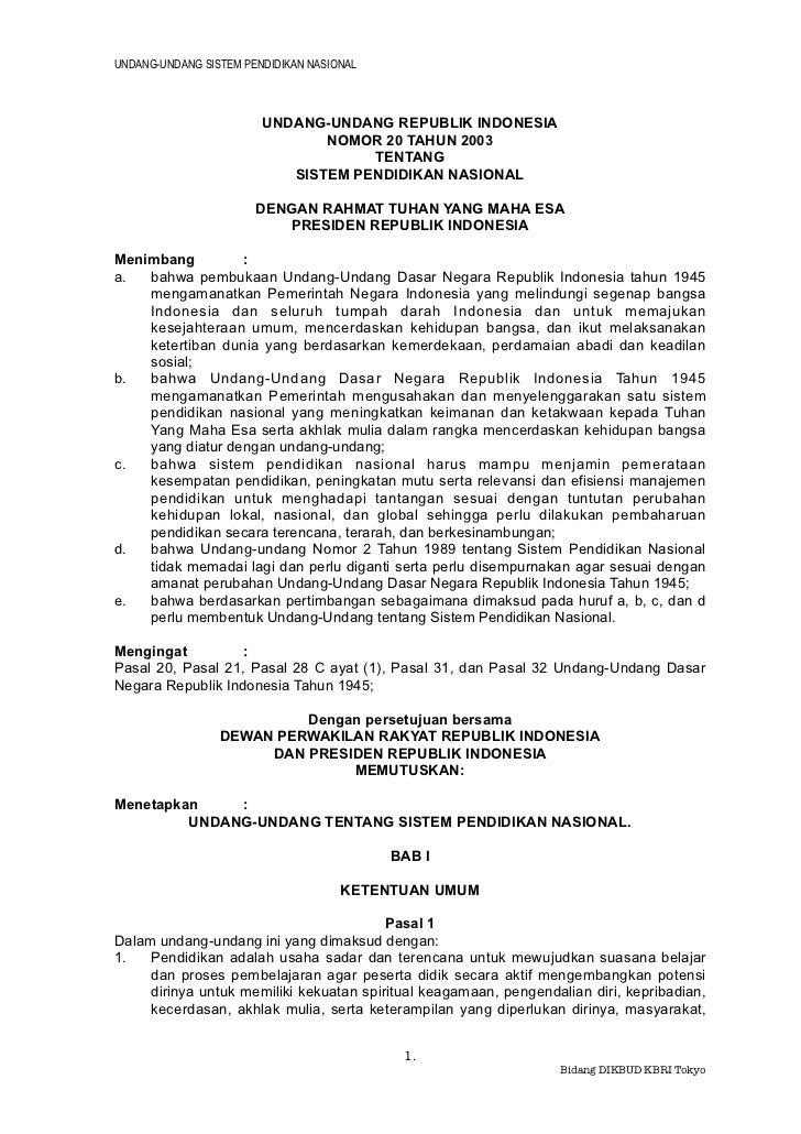 UNDANG-UNDANG SISTEM PENDIDIKAN NASIONAL                        UNDANG-UNDANG REPUBLIK INDONESIA                          ...