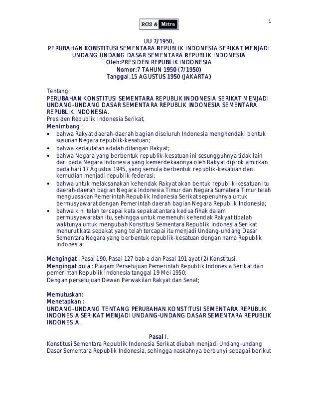 11 UU 7/1950,UU 7/1950, PERUBAHAN KONSTITUSI SEMENTARA REPUBLIK INDONESIA SERIKAT MENJADIPERUBAHAN KONSTITUSI SEMENTARA RE...
