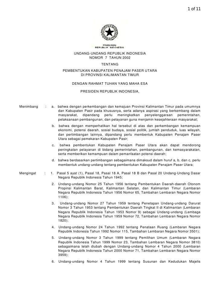 1 of 11                                   UNDANG-UNDANG REPUBLIK INDONESIA                                     NOMOR 7 TAH...