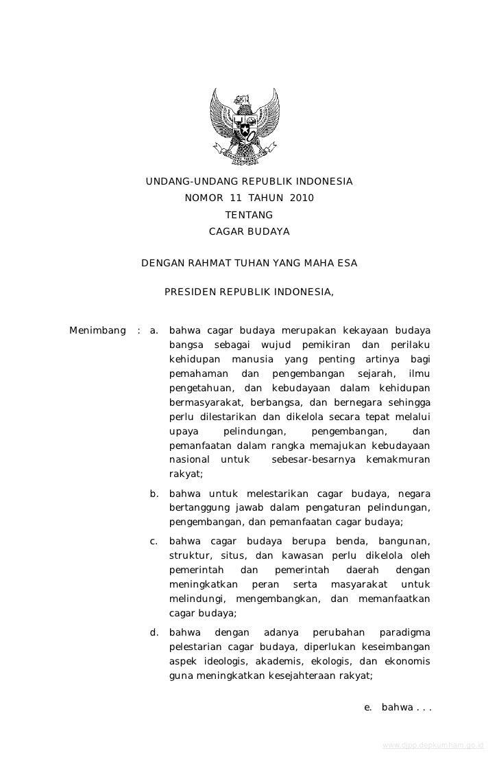 UU No. 11 tahun 2010 tentang Cagar Budaya