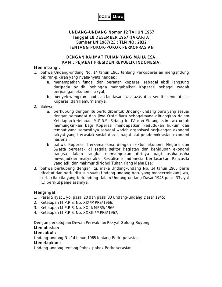 UNDANG-UNDANG Nomor 12 TAHUN 1967                   UNDANG-                    Tanggal 18 DESEMBER 1967 (JAKARTA)         ...