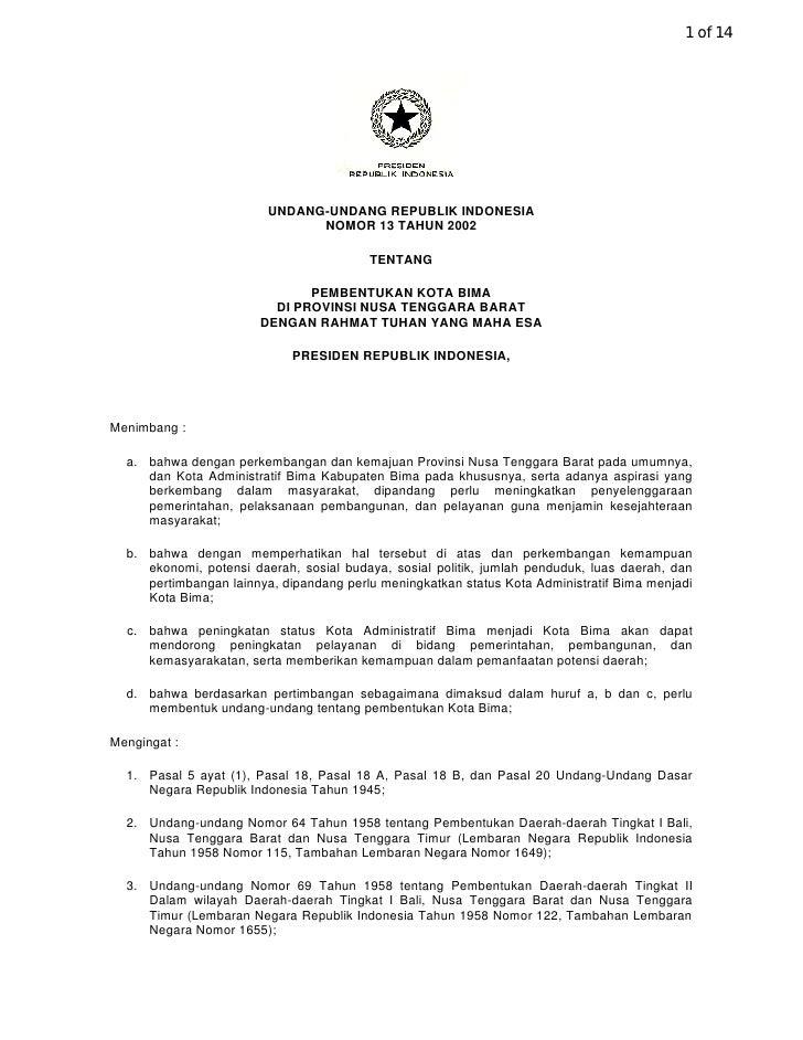 1 of 14                              UNDANG-UNDANG REPUBLIK INDONESIA                                NOMOR 13 TAHUN 2002  ...