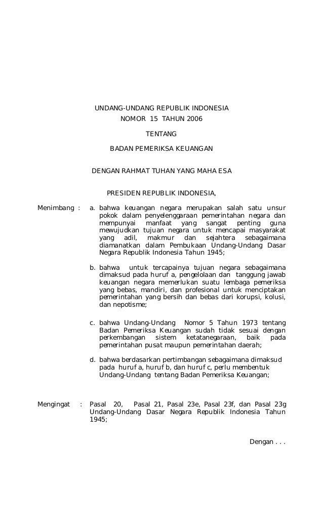 Undang-undang No. 15 Tahun 2006 tentang Badan Pemeriksa Keuangan
