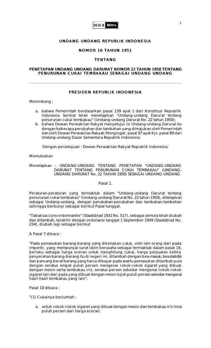 1                     UNDANG UNDANG REPUBLIK INDONESIA                              NOMOR 16 TAHUN 1951                   ...