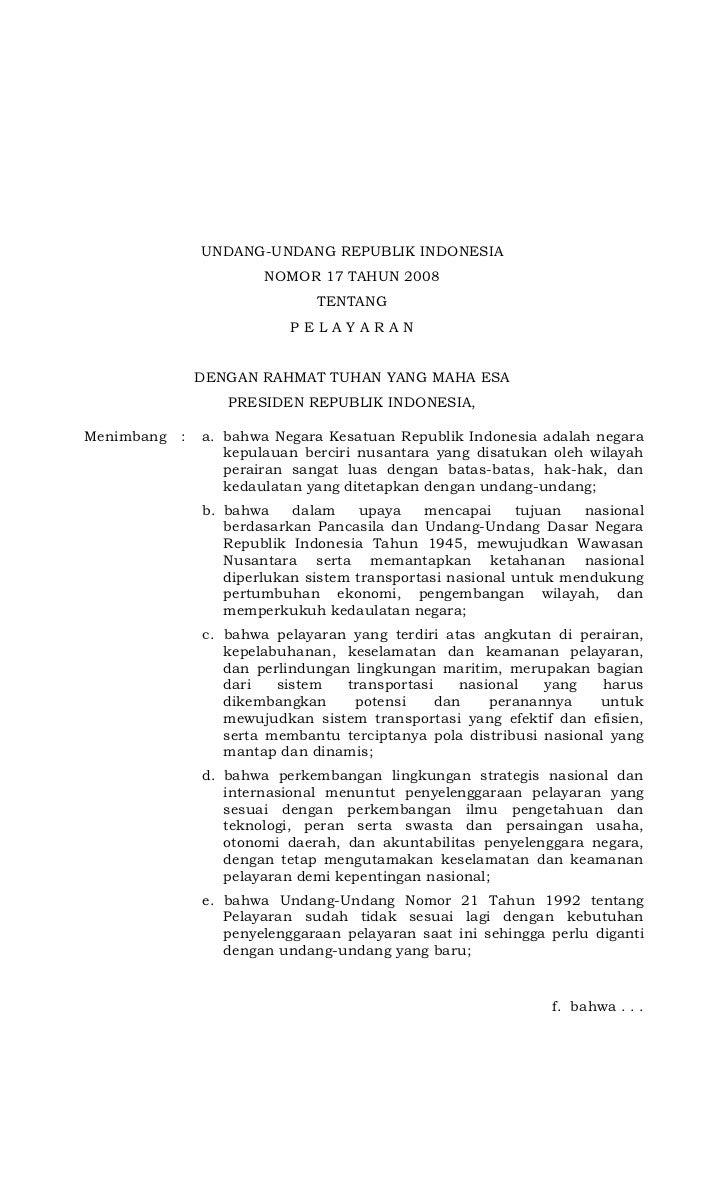 Undang-undang No. 17 Tahun 2008 tentang Pelayaran