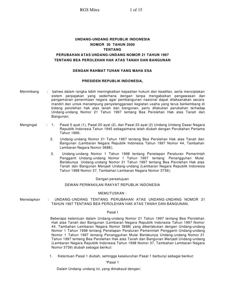 RGS Mitra                     1 of 15                                        UNDANG-UNDANG REPUBLIK INDONESIA             ...