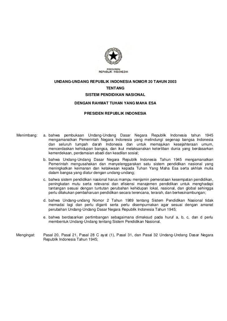 UNDANG-UNDANG REPUBLIK INDONESIA NOMOR 20 TAHUN 2003                                               TENTANG                ...