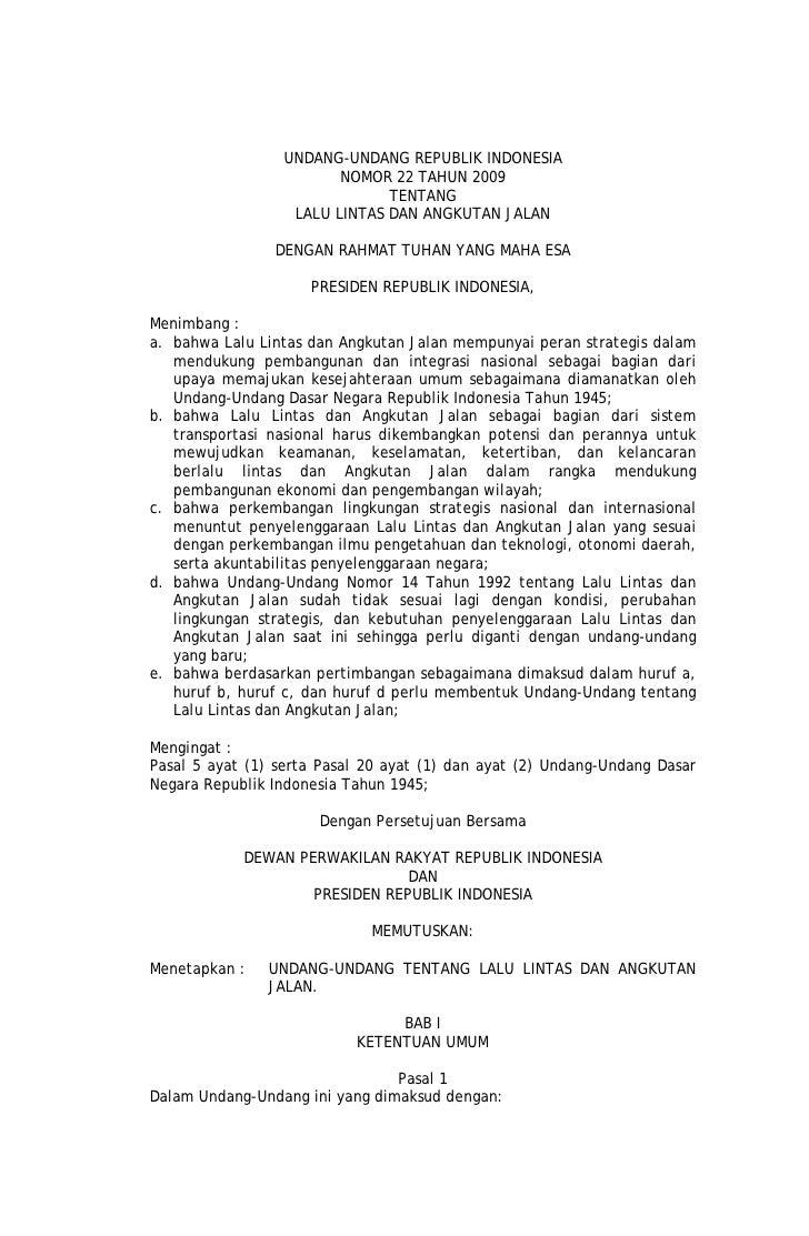 UU No 22 tahun 2009 tentang Lalu Lintas dan Angkutan Jalan
