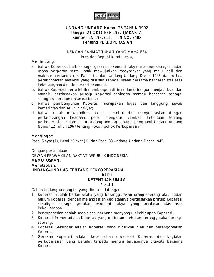 UNDANG-UNDANG Nomor 25 TAHUN 1992                    UNDANG UNDANG                      Tanggal 21 OKTOBER 1992 (JAKARTA) ...