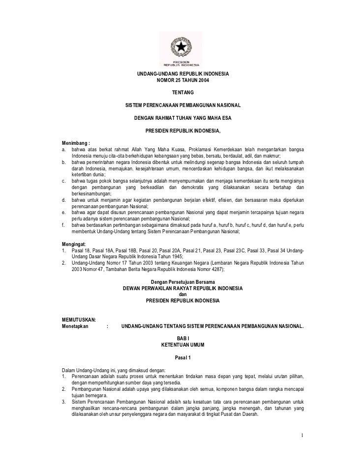 UU No. 25 Tahun 2004 tentang Sistem Perencanaan Pembangunan Nasional