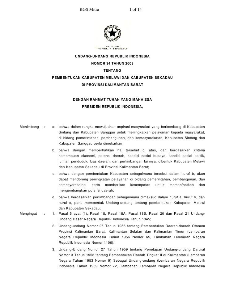 RGS Mitra                   1 of 14                                 UNDANG-UNDANG REPUBLIK INDONESIA                      ...