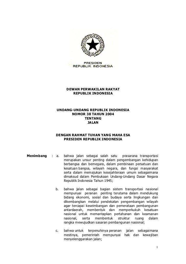 UU No. 38 Tahun 2004 tentang Jalan