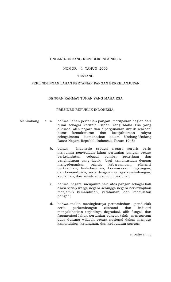 UNDANG-UNDANG REPUBLIK INDONESIA                          NOMOR 41 TAHUN 2009                                  TENTANG    ...